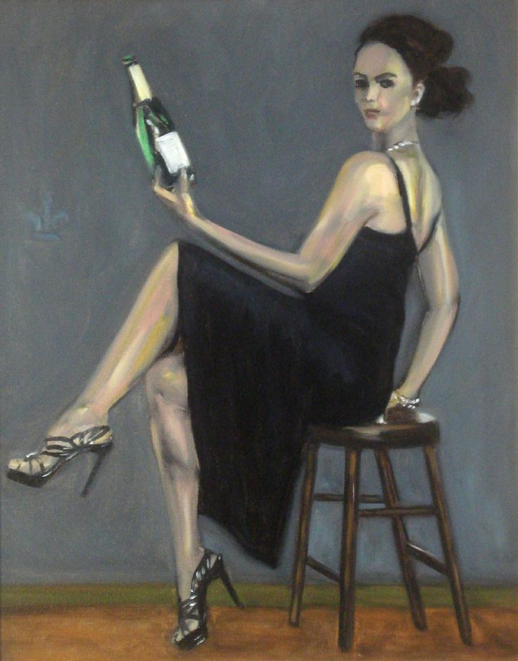 Lady with Champagne Bottle Sitting