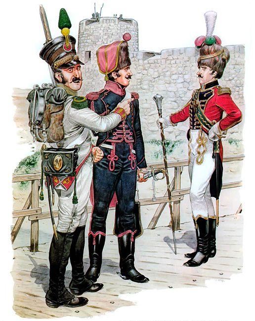 """Volteggiatore del 2rgt. delle """"Velites"""" della guardia, cannoniere dell'artiglieria a cavallo della guardia e tamburo maggiore dei granatieri della guardia"""