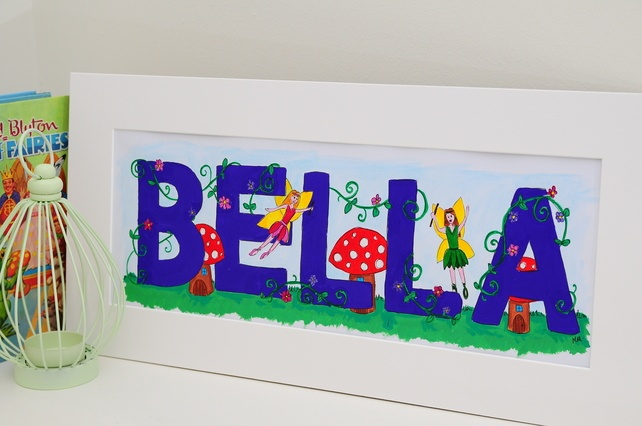 Girls Fairy Personalised Name Painting - Folksy.com/shops/RainbowIllustrations