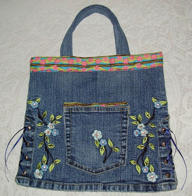 32 best images about denim crafts on pinterest colorful for Denim craft projects