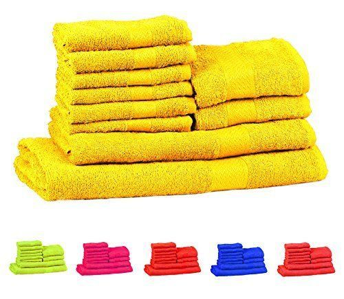 10 Pieces Cotton YELLOW Towel Gift Set Bathroom New Free Shipping #TRIDENTGROUP