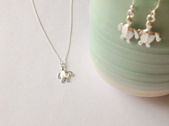 Sterling Silver Turtle Necklaceturtle by WhitePebbleJewellery