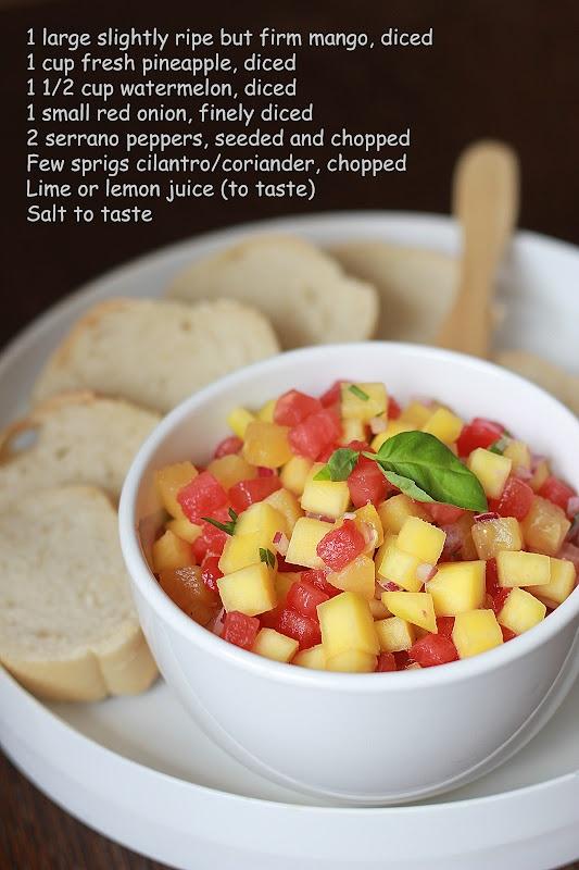Mango, pineapple and watermelon salsaAwesome Food, Food Glorious, Watermelon Salsa, Fingers Parties, Salsa Recipe, Dinner Ideas, Snacks Ideas, Rathai Recipe, Parties Food
