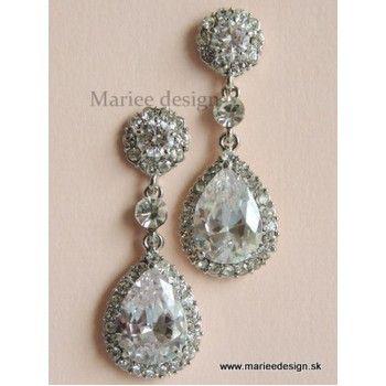 Svadobné/spoločenské krištáľové náušnice SN3 bridal crystal earrings