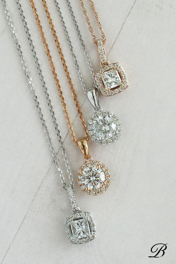 7ec90feb043f3 Round and Square Diamond Halo Pendants in White and Rose Gold ...