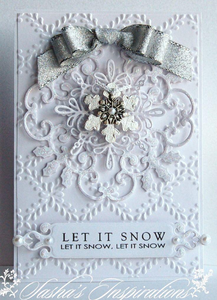 Stunning White On White Snowflake Card...