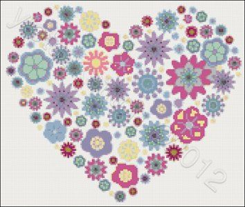 Heart of flowers cross stitch kit or pattern | Yiotas XStitch