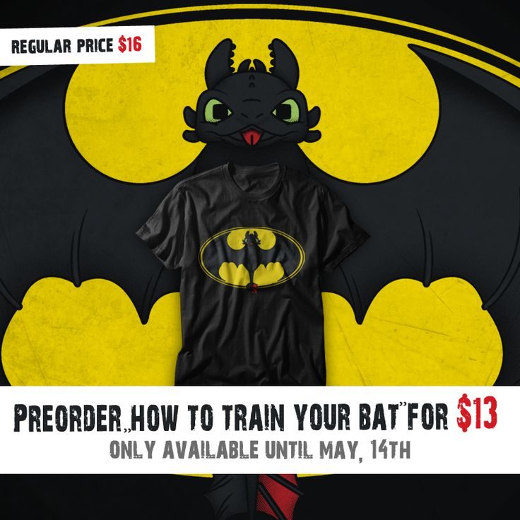 "Preorder ""How To Train Your Bat"" T-shirt, V-neck, Hoodie, Sweatshirt or Tank Top until May 14th at www.othertees.com/shop #toothless #howtotrainyourdragon #dreamworks #httyd #httyd2 #batman #dc #comics #parody #crossover #gothamcity #gotham #OtherTees #tshirts #clothes #clothing"
