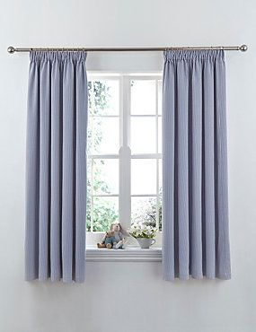 Blue Mix Ticking Striped Pencil Pleat Curtains