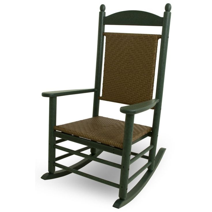 Outdoor POLYWOOD® Jefferson Recycled Plastic Rocking Chair with Woven Seat and Back Green - K147FGRTW