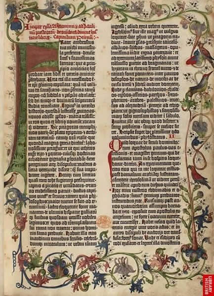 image of page from the Gutenberg Bible. The Gutenberg Bible was the first major work printed using moveable type.