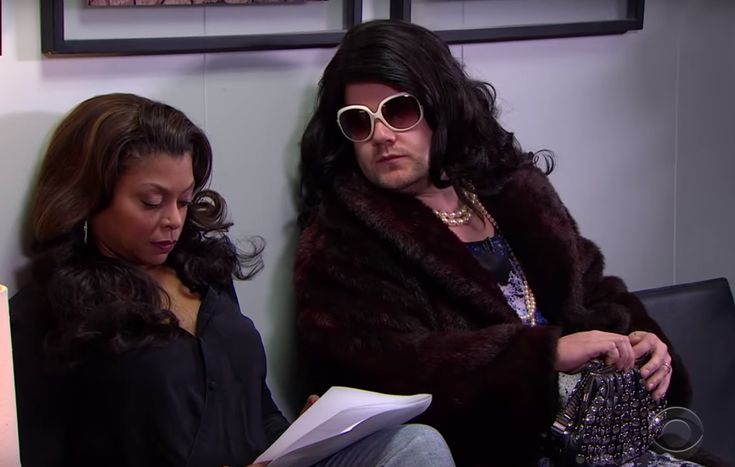"""How's this for a Hollywood what if? James Corden could have played Cookie Lyon on Empire.  Okay, not really, but that's the scenario Corden imagined on Tuesday's episode of The Late Late Show. Corden showed footage of his encounter with eventual Empire star Taraji P. Henson outside the audition room.  At first, Corden -- dressed like Cookie -- came on strong, attacking Henson's wardrobe and """"dollar-store hoops."""" It didn't work."""