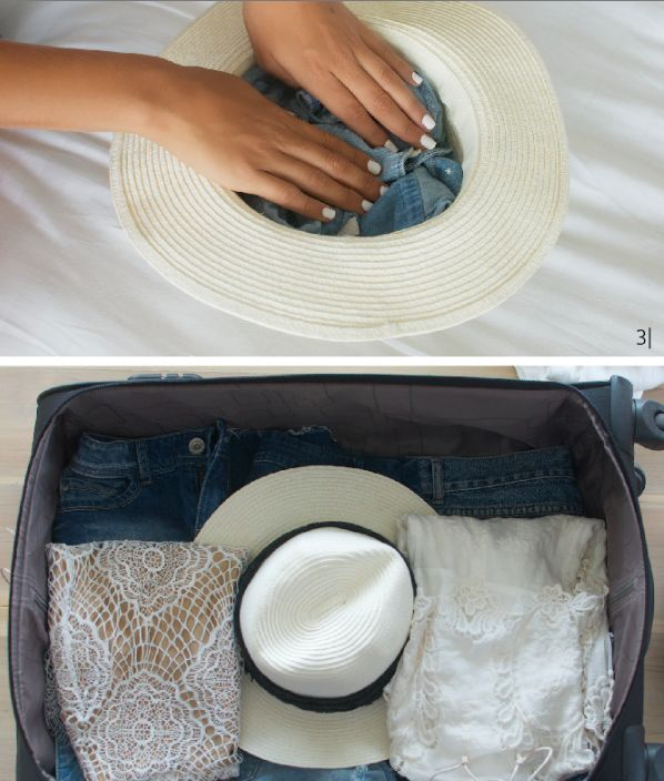 Fold a shirt and put it in the inside of a hat to keep your hat from getting squished.