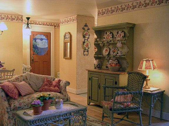 Victorian Gothic Cottage Living Room Love The Dishes On The Hutch Miniatures Pinterest