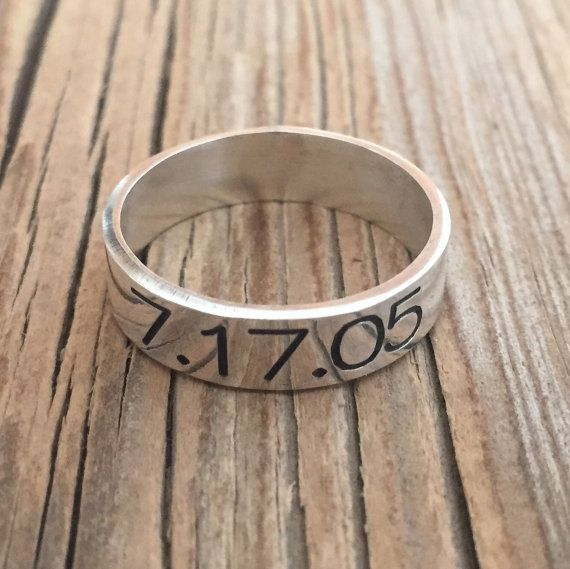 Men's Ring - Men's Personalized Ring - Engraved Men's Ring - Personalized Men - Personalized For Men - Men's Jewelry - Men's Ring - Husband  Beautiful sterling silver ring, You can engrave on it initials, dates, symbols, roman characters ... $65