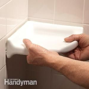 How to Install a Corner Shower Shelf, can glue over existing tile!!