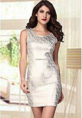 Biała lśniąca sukienka Bodycon  Błyszczą sukienka, która olśni wszystkich