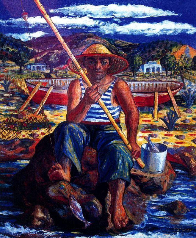 El pescador. 1951. Óleo. 84 x 98 cm. Colección Francisco Fernández Salvador. Obra de Jesús de Perceval
