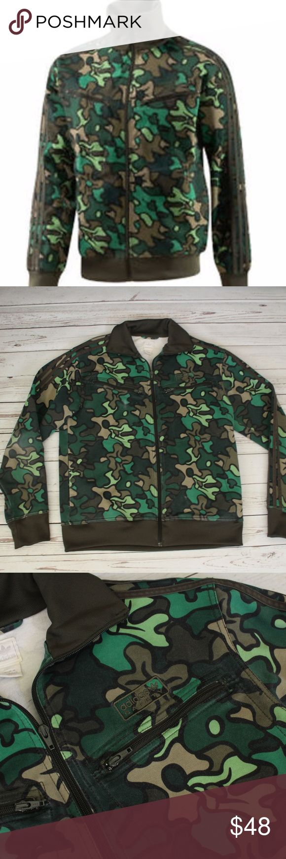 "Adidas Safety Camo Track Jacket Awesome Camo Jacket Some Fading, Please see last pictures. 2 Front Chest Zipper Pockets 2 Side Snap Button Pockets 21"" Chest 26"" Length adidas Jackets & Coats Bomber & Varsity"