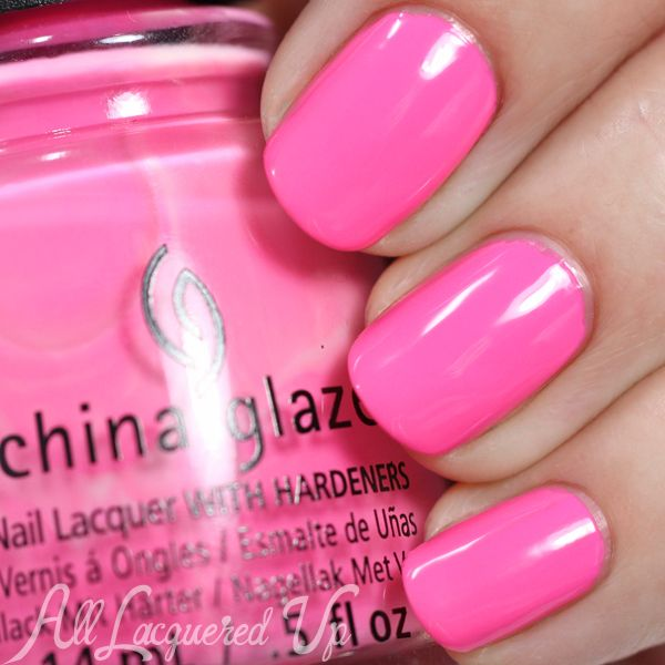 China Glaze Electric Nights collection (Summer 2015) - Glow with the Flow is a neon rosy pink. Like Daisy Knows, it is florescent in person.