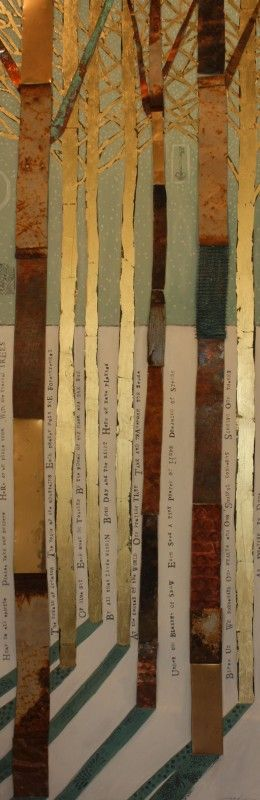 """PRAYER TREES"" - 60"" X 20"" - Found metals, gold leaf, oil on wood by Diana Woods"
