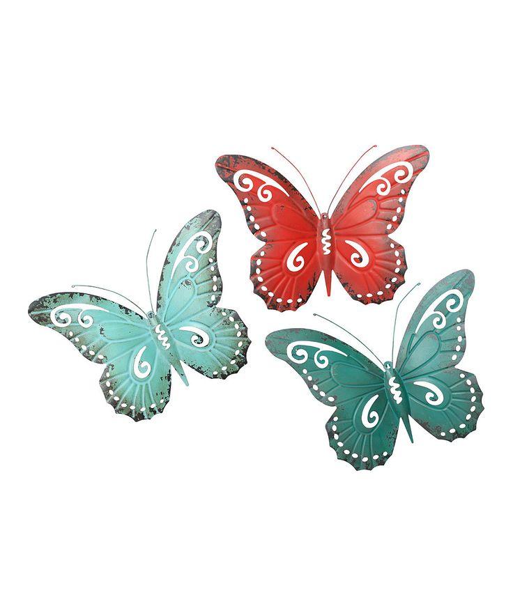 Teal, Aqua & Red Butterfly Wall Art Set | Butterflies ...