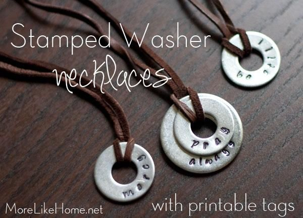 Stamped Washer Necklaces DIY! Like the cord, and has good tips about taping washers to keep them from moving about.