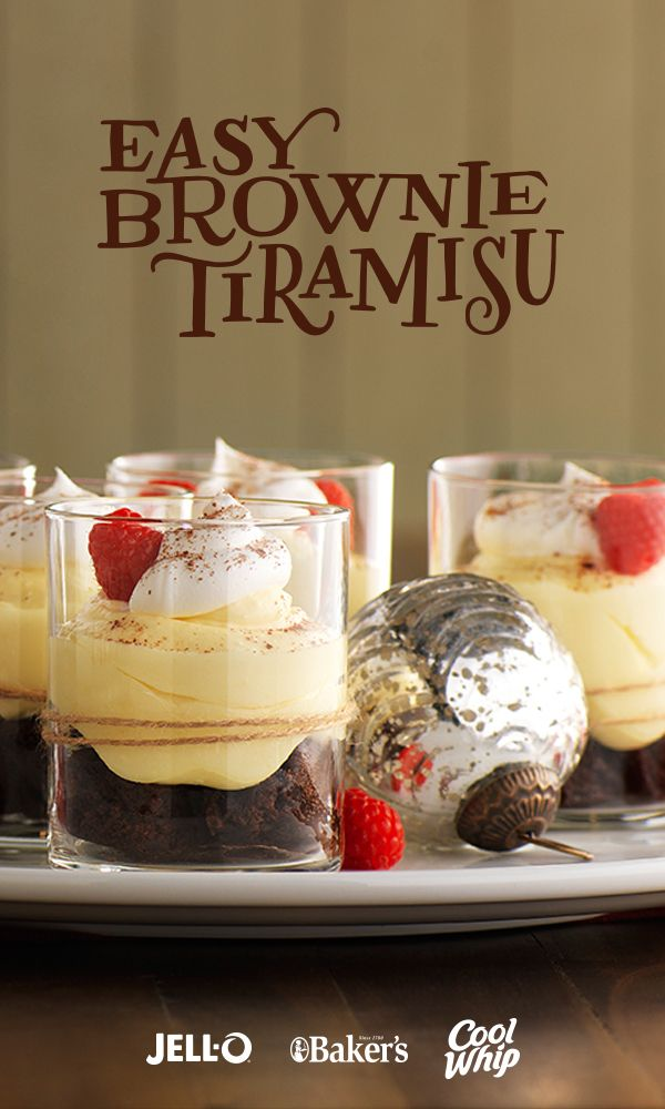 Coffee, raspberries and cream cheese take brownies to an even yummier level in this easy-to-make tiramisu. Get out your JELL-O Vanilla Flavor Instant Pudding, BAKER'S Semi-Sweet Chocolate and COOL WHIP Whipped Topping. With just four steps, Easy Brownie Tiramisu is a tasty, elegant delight.
