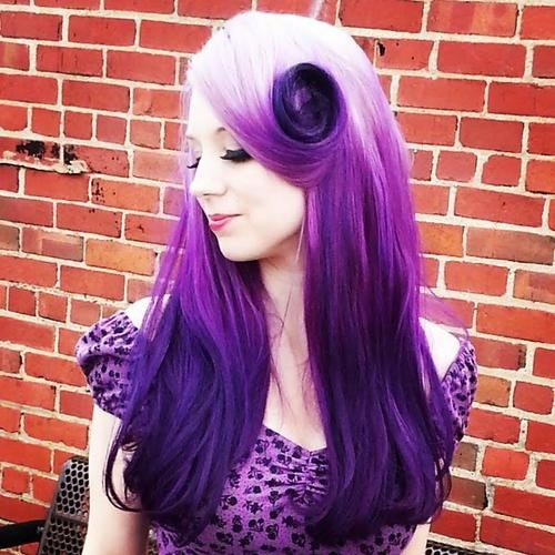 white to lila long hair with magenta