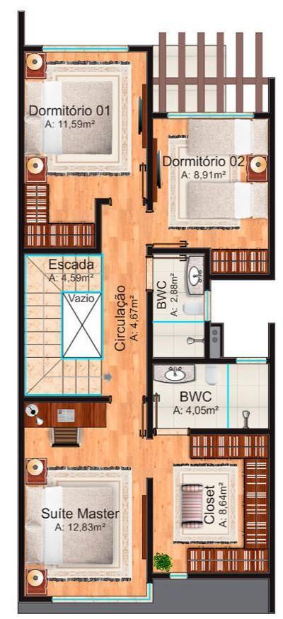Plano y diseño de hermoso dúplex moderno con 3 dormitorios y garaje-3