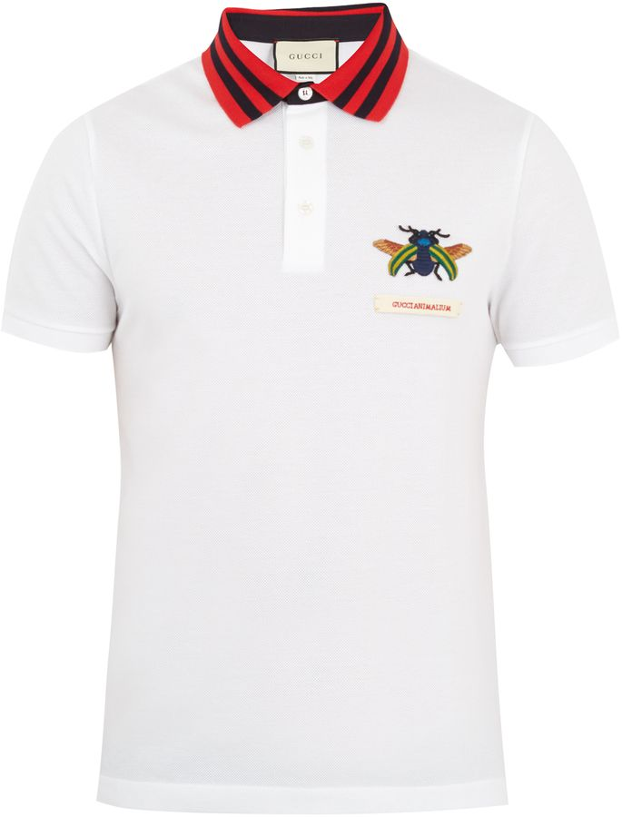 GUCCI Beetle-appliqué cotton-piqué polo shirt Klick to see the Price #men #fashion #male #style #menfashion #menwear #menstyle #clothes #boots #man #ad