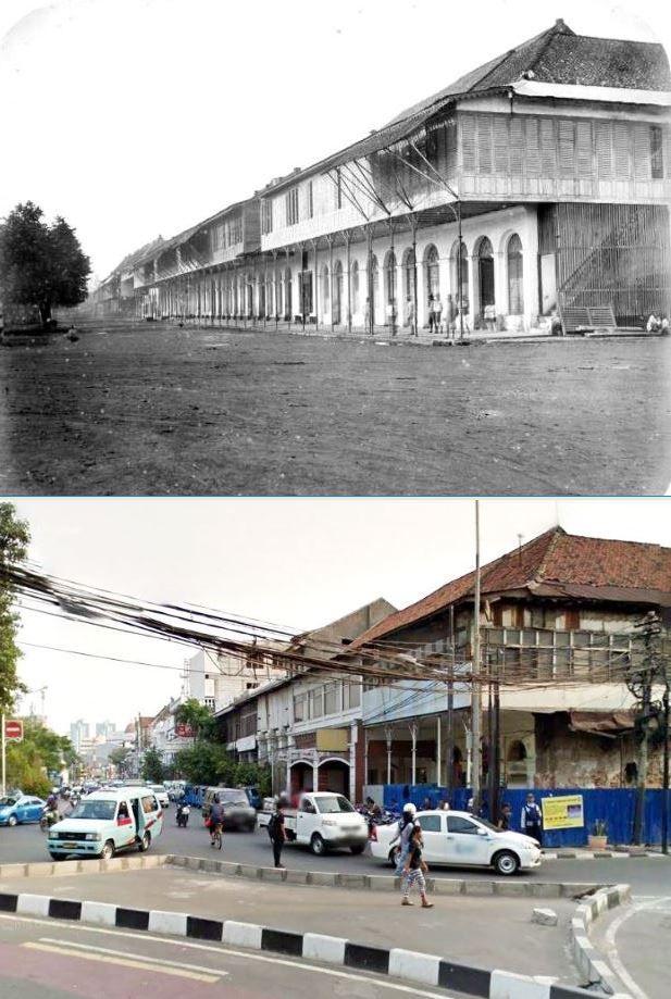 Winkels en handelshuizen bij de Kali Besar te Batavia, ca 1870, ,.,Ruko2 di jl Kali Besar Barat, Jakarta, 2015