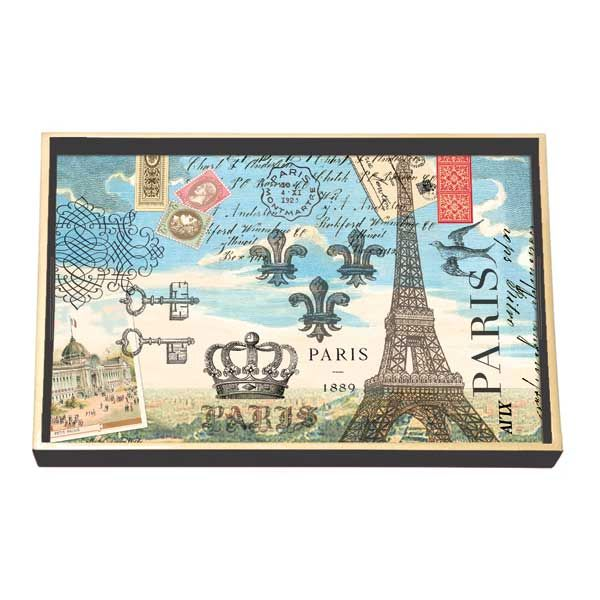 Michel Design Works Wooden Decoupage Vanity Tray - Paris — Giftwerks This smaller addition to our bountiful collection of handmade wooden trays features timeless decoupage art, and gold edging. Its size and non-slip feet make it perfect for the bathroom counter or vanity table a home for makeup, lotion, a candle or cup of tea - whatever small item needs to be close at hand.