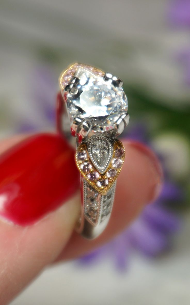 Pink And White Diamond Floral Two Tone Engagement Ring  Joseph Jewelry   Bellevue  Seattle