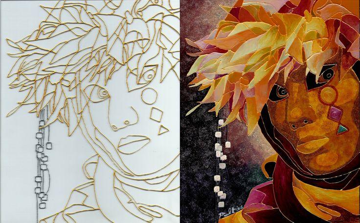 Le masque / Avant-Après / Peinture vitrail et céramique avec paillette dorée et poudre à embosser
