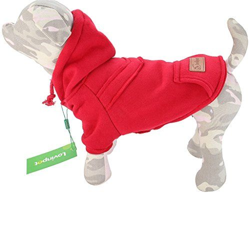LovinPet Dog Winter Coat  Hoodie Dog Coats for Medium Dogs  Small Dogs  Cozy Black Grey Pink or Red Dog Sweater Jumpsuit with Hood  Puppy coats Red Small * Click on the image for additional details.