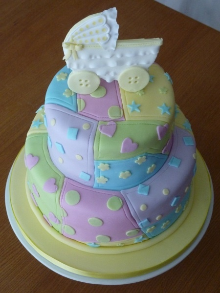 Baby Shower Quilt Cake - like the idea to fondant cover in pieces