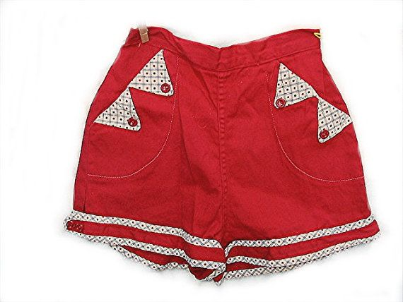 Vintage 1950s Red SHORT SHORTS Sexy Pin Up BOMBSHELL Rockabilly  High Waisted