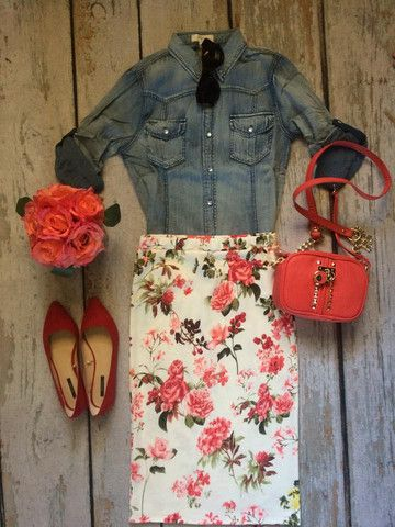 Chambray top, floral skirt