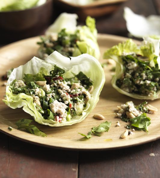 59 best chicken recipes images on pinterest kitchens cooking a fresh and spicy warm chicken salad served in little gem lettuce leaves forumfinder Gallery