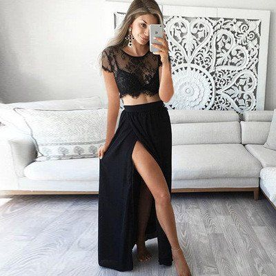 Two Pieces Short Sleeve Sexy Side Slit Black Lace Long Prom Dresses, BG51024
