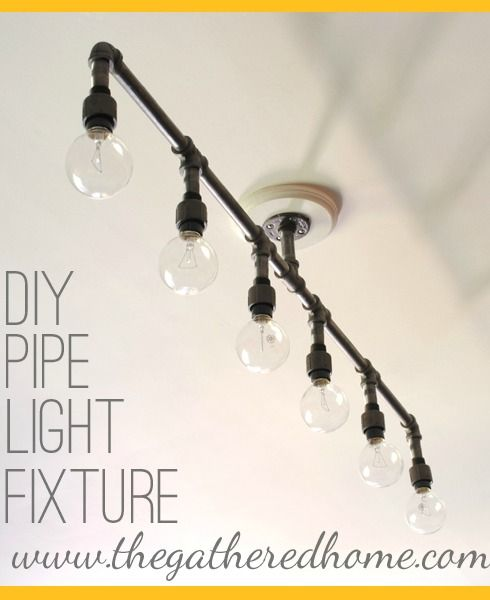 How To Make A Fabulous Plumbing Pipe Light Fixture! This would be awesome in the boys bathroom