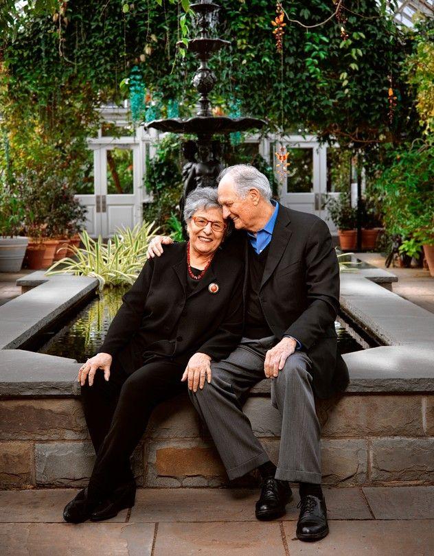 Arlene and Alan Alda in the New York Botanical Garden in the Bronx.