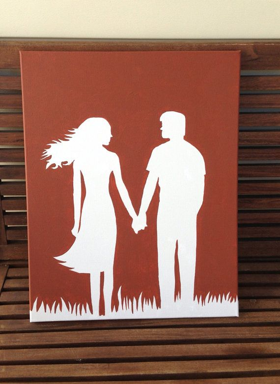 Hand painted couple holding hands silhouette on by Justthewoods