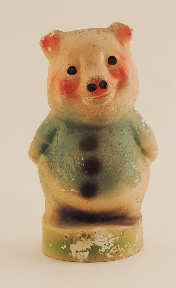Creepy Vintage Pig Figurine  plaster by EmptyKit on Etsy
