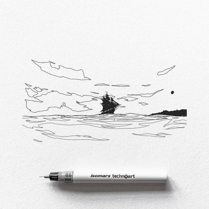 A stout ship cuts through the waves in this #nautical #drawing by Dario Anza (@ariarosso).  While there are clouds in the sky it is a clear day and with a bright sun basking us in a warm embrace I imagine the clouds more as sky ornaments dressing space above us with creative flare rather than meteorological phenomena. They give us perspective showing us that maybe (due to the unique curvature of the sky) the artist has stretched our viewport over lens... or perhaps we are standing on the…