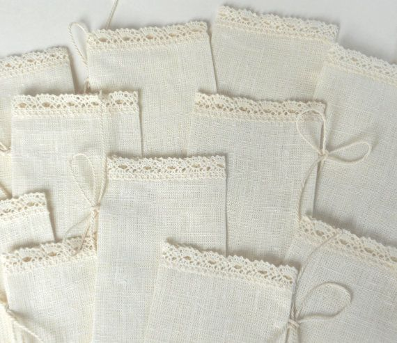 Ivory favor sachets linen burlap with lace wedding by cikucakuu, $20.00