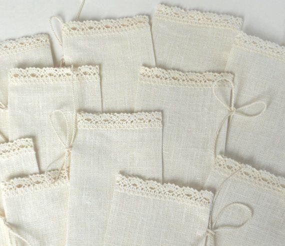 Ivory favor sachets linen burlap with lace wedding by cikucakuu, $20.00