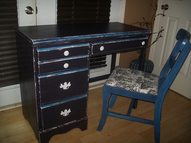 Antique Desk Black Blue And White With Gold Detailing