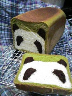 Panda Bread:    Ingredients: 600g loaf (206 x 108 x100h)  230g bread flour  70g cake flour  30g sugar  milk + 1 yolk = 210g (I used skim milk)  4.5g salt  18g unsalted butter (I used 20g)  4g yeast  8g green tea powder dissolved in 10g boiling hot water  8g cocoa powder dissolved in 8g boiling water: Idea, Food, Recipes, Breads, Fun, Pandas